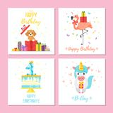 Birthday greeting cards set. Vector cartoon style set of birthday greeting cards with cute animals and festive symbols. Isolated on white background. Template vector illustration
