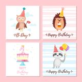 Birthday greeting cards set. Vector cartoon style set of birthday greeting cards with cute animals and festive symbols. Isolated on white background. Template royalty free illustration