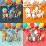 Birthday greeting cards. Vector set of birthday greeting cards in flat design style Royalty Free Stock Photo