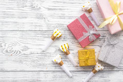 Birthday greeting cards and wrapped gifts on grey wooden desk top view copyspace Royalty Free Stock Photography