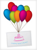 Birthday greeting design with balloons Stock Image