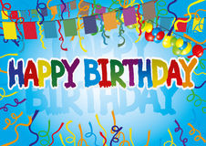 Birthday greeting with flags and balloons. Royalty Free Stock Images
