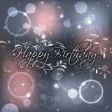 Birthday greeting on the glittering background with decoration Stock Images