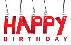 Birthday greeting hanging in the air. Stock Photo