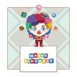 Birthday greeting with happy clown. Birthday greeting with cute happy clown Vector Illustration