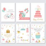 Birthday, greeting and invitation cards with cakes, balloons and birds Stock Images