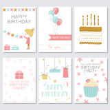 Birthday, greeting and invitation cards with cakes, balloons, gifts and the girl Royalty Free Stock Photography