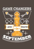 Game Changers are Born in September. Birthday greeting present as t-shirt, card or poster with illustrated, line style ribbon graphics text Royalty Free Stock Photo