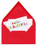 Birthday greetings. Closeup of a letter - open red envelope with anonimous birthday greetings, made of cutout magazines' fonts, isolated on white background royalty free stock photo