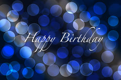 Birthday greetings and background. Birthday greeting card background with bokeh lights Royalty Free Stock Photo