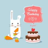 Birthday greetings - bunny on a blue background Stock Image