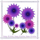 Greetings card with  violet  summer flowers in vintage  frame. Birthday greetings card  with rose and violet  summer  flowers , digital art design Royalty Free Stock Photos