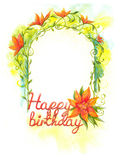 Birthday greetings congratulations. Floral frame, happy birthday, watercolor painting art Stock Photos