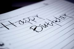 Birthday Greetings On Paper. Handwriting stock photos