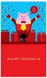 Birthday Greetings with Pig Royalty Free Stock Photo