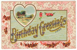 Birthday Greetings From Vintage Postcard Stock Photo