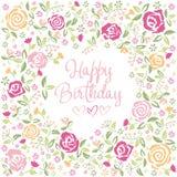 Birthday greetings. Watercolor. Stock Photos
