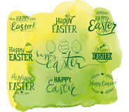 Set of labels Happy Easter Watercolor background.  Stock Photos