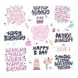 Birthday hand drawn greeting cards set. Festive vector postcards with lettering. Make a Wish, Happy B-day, Celebrate your Day phrases. Party invitation cards stock illustration