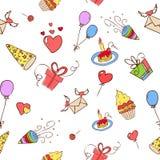 Birthday hand drawn seamless on white Stock Images