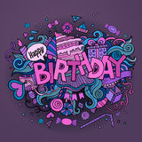 Birthday hand lettering and doodles elements Stock Image