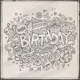 Birthday hand lettering and doodles elements Stock Photos