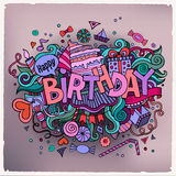 Birthday hand lettering and doodles elements Royalty Free Stock Photography
