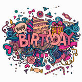 Birthday hand lettering and doodles elements Stock Images