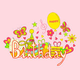 Birthday hand lettering and doodles elements Stock Photo