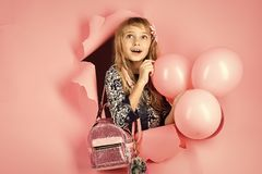Birthday, happiness, childhood, look. Kid with balloons, birthday. Little girl with hairstyle hold balloons. Beauty and. Fashion, punchy pastels. Small girl stock photos