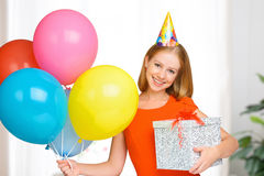 Birthday . happy woman with balls and gift Stock Photo