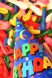 Birthday hat with balloons. Vertical stock photography