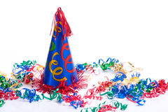 Birthday Hat and Streamers royalty free stock photo