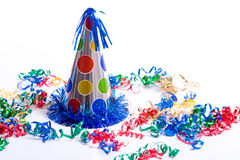 Birthday Hat and Streamers Stock Images