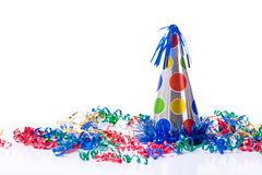 Birthday Hat and Streamers Royalty Free Stock Image