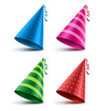 Birthday hat vector set with colorful patterns as elements Stock Image