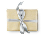Birthday holiday gift box in golden paper isolated on white Stock Photography