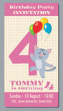 Birthday holiday greeting and invitation with cute cartoon cat vector card 4 years old. Birthday party with cat , card or poster to event birthday illustration Stock Image