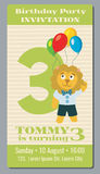 Birthday holiday greeting and invitation with cute lion vector card 3 years old. Banner birthday and card to third birthday illustration Royalty Free Stock Image