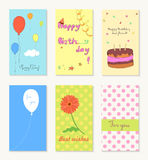 Birthday and holiday invitation greeting cards design with ballon, cup cake, flower and heart. Stock Photography
