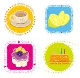 Birthday icon. Illustration of Birthday dinner icon ,lemon,Milk tea,cakes Royalty Free Stock Photo