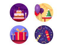 Birthday icon flat color. Cake gifts and fireworks. Vector illustration Stock Image