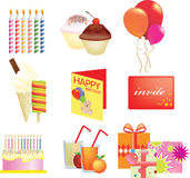 Birthday icon set Stock Photos
