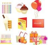 Birthday icon set Stock Photos