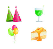 Birthday icon set Royalty Free Stock Photo