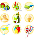 Birthday icon set Royalty Free Stock Photos
