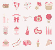 Birthday icon set vector Royalty Free Stock Photos
