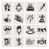 Birthday. Icon set in the . Vector illustration Royalty Free Stock Photography