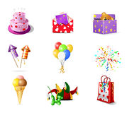 Birthday icons Royalty Free Stock Photography