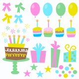 Birthday icons. Like ballons cake presents cupcakes stars candles Stock Photography